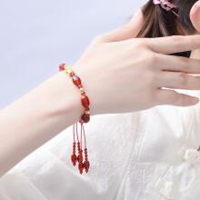 蒂蔻 T0338招财貔貅黄金转运珠手链女款3D硬金圆珠红玛瑙手绳足金路路通手串生日礼物送老婆