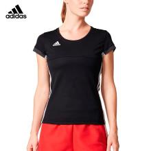 阿迪达斯 adidas短袖T恤女情侣款T16 TEAM透气羽毛球服 运动服 黑色 AJ5301 XL