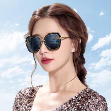 海伦凯勒墨镜 大框偏光太阳镜女款 开车驾驶眼镜 H8721 黑框黑灰渐进N01