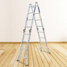 瑞居多功能梯子双侧梯子折叠梯子人字梯子工程梯子家用铝合金梯子YQGJT-6-3800 人字梯2.39米直梯4.95米15种功能
