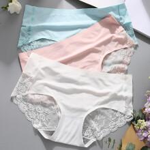 猫人(3条装)女士内裤女镂空蕾丝三角裤女包臀性感冰丝无痕透明女式内裤 白色+粉色+蓝色 M