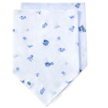 全棉时代 手帕口水巾三角巾婴儿纱布三角巾 62*43 交通世界+蓝小熊旅行 2条装