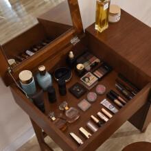 越茂 卧室翻盖梳妆台 迷你小户型化妆台 多功能欧式简约化妆桌 胡桃木色 SZT-805-BR