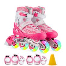 动感ACTION溜冰鞋儿童全套装可调成人直排轮男女溜冰鞋PW-153B-21 粉红全闪鞋+护具 M/37-40码可调