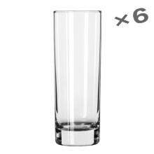 6只套装美国利比玻璃杯直身杯酒店餐厅水杯家用厚底茶杯饮料杯子 311ml细长型六只