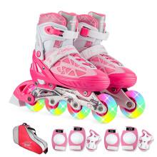 动感ACTION溜冰鞋儿童全套装可调成人直排轮男女溜冰鞋PW-153B-21 粉红全闪鞋+护具+包 L/40-43码可调