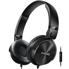 飞利浦(PHILIPS)SHL3065BK 头带封闭式 轻巧平折耳机 时尚出街 线控式麦克风通话(黑色)