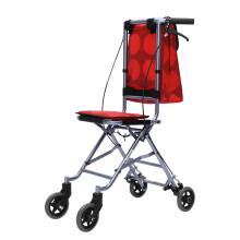 conlo 中进 超轻便进口航空航钛铝合金折叠轮椅手动助行车购物车便携老人残疾人直上飞机高铁 红色