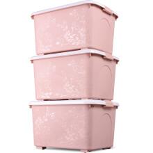 百草园 新款多彩雕花大号塑料箱衣服被子收纳箱杂物整理储物箱带滑轮68L3个装北欧粉