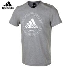 阿迪达斯adidas 运动服男款 短袖T恤全棉文化衫羽毛球服上衣EMBLEM CV4518灰色 L码/180