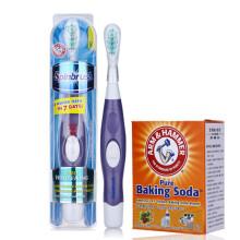 艾禾美(ARM&HAMMER) 专柜炫洁电动牙刷中毛软毛细毛牙刷成人自动牙线刷 四驱专业洁白型 浅紫色 送小苏打