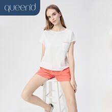淳度 睡衣女夏季短袖薄款家居服女士简约可外穿居家服套装 米白/珊瑚色 L