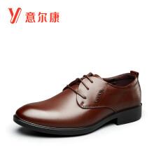 意尔康男鞋软底圆头系带男士单鞋时尚商务正装皮鞋 6542ZE97899W 棕色 40