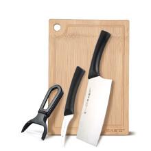 炊大皇 刀具套装 切片刀 水果刀 刨皮刀 菜板组合四件套