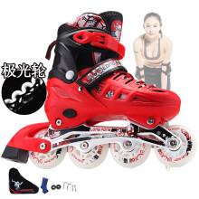 隆峰溜冰鞋成人成年旱冰鞋滑冰儿童全套装单直排轮滑鞋初学者男女欧盟品质 红色鞋子+背包 M码35-38(单闪)