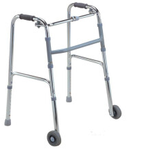 AUFU 佛山助行器 便携式折叠老人四腿拐杖辅助行走器铝合金拐棍残疾人康复助行器助步器站立支撑带轮滑