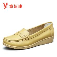 意尔康女鞋平底浅口单鞋豆豆鞋百搭休闲护士鞋舒适妈妈鞋 7172ZA29977W 浅黄 39