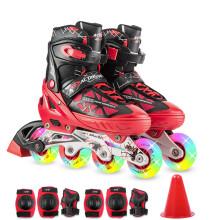 动感ACTION溜冰鞋儿童全套装可调成人直排轮男女溜冰鞋PW-153B-21 红黑全闪鞋+护具 S/33-36码可调