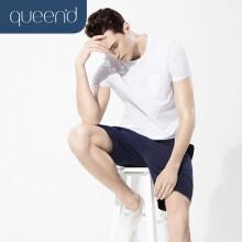 淳度 男士睡衣短袖休闲外穿家居服丝光棉夏季居家服套装 QMC01443 米白/宝蓝 M