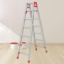 瑞居家用梯子两用梯子人字梯加厚梯子铝合金梯多功能折叠四步梯子1.14 7步人字梯高1.98m 直梯4.13米