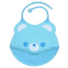 亲亲我(kidsme) 宝宝硅胶饭兜婴儿防水围兜吃饭兜口水兜 蓝色口水巾