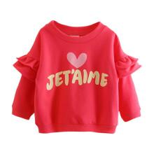 贝壳元素宝宝字母长袖卫衣 春装女童童装儿童圆领爱心外套wt8575 西瓜红 140cm