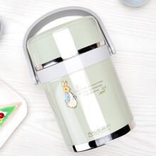 比得兔 Peter Rabbit 304不锈钢大容量保温桶学生儿童双层保温饭盒 浅绿色 1.9L  PR-T732