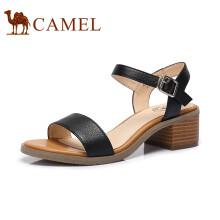 骆驼(CAMEL)女鞋 舒适简约韩版粗跟凉鞋 A82027620 黑色 37