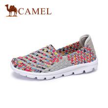骆驼(CAMEL) 女鞋 拼色七彩舒适平底休闲鞋 A61304601 花色 35