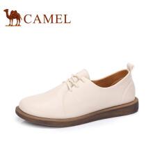 骆驼(CAMEL) 女士 柔和甜美系带圆头平底单鞋 A83514665 米色 40