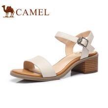 骆驼(CAMEL)女鞋 舒适简约韩版粗跟凉鞋 A82027620 米色 37