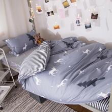 月语家纺 三件套单人被套床单学生宿舍床上下铺床品套件 欢快森林 0.9米-1.2米床三件套