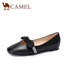 骆驼(CAMEL) 女士 甜美少女圆头柔软牛皮平底单鞋 A83509606 黑色 38