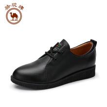 骆驼牌 女士低跟耐磨系带时尚简约休闲单鞋 W83879500 黑色 37/235码