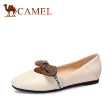 骆驼(CAMEL) 女士 甜美少女圆头柔软牛皮平底单鞋 A83509606 米白 37