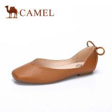 骆驼(CAMEL) 女鞋 舒适优雅平底方头芭蕾舞单鞋 A81514637 棕色 40
