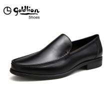 金利来(goldlion)男士商务休闲舒适轻便套脚皮鞋520710152AHB-黑色-39码