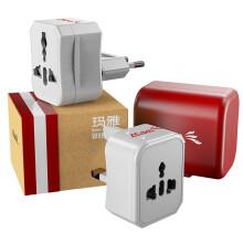 玛雅(MAYA) 出国旅行万能转换器3件套装 韩国英标欧标美标 电源插座插头 红+白色W8E