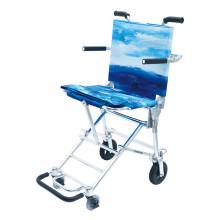 中进轮椅207日本进口航钛铝合金折叠轻便超轻便携简易小轮老人手推车老年人儿童可上飞机旅行旅游代步车 NAH-207 蓝色 36厘米坐宽