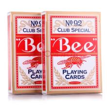 Bee扑克牌纸牌美国原装德州扑克牌no92 红色两付装 德州扑克牌花切扑克牌魔术扑克牌桌游