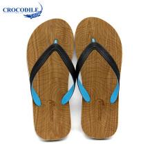 鳄鱼恤(CROCODILE)人字拖鞋男防滑平底沙滩潮流清凉简约夹脚男款 CRO1641 木纹花 42-43