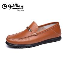 金利来(goldlion)男士轻质柔软豆豆简约商务正装休闲皮鞋567820074OLC-土黄色-38码