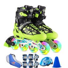 动感ACTION溜冰鞋儿童全套装可调成人直排轮男女溜冰鞋PW-153B-21 黑绿全闪鞋+护具+包+头盔 M/37-40码可调