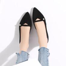 毅雅(yiya)时尚优雅珍珠浅口尖头金属低跟女单鞋 黑色 35
