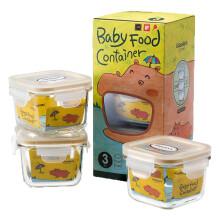 京东国际                                    Glasslock baby韩国进口钢化玻璃婴儿辅食盒 密封保鲜盒储存冷冻 微波炉宝宝辅食碗三件套 GL544/210ml*3
