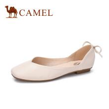 骆驼(CAMEL) 女鞋 舒适优雅平底方头芭蕾舞单鞋 A81514637 米色 38