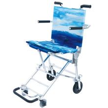 中进日本NAH-207航钛铝合金老人轮椅老年人代步车折叠轻便超轻飞机高铁旅行小轮旅游手推车可登机 蔚蓝海洋 蓝色 40厘米坐宽