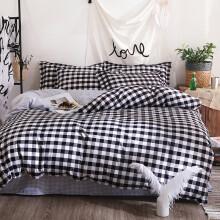 瑞莱思家纺 学生宿舍三件套 床上用品枕套床单被罩 黑白格 1.5米床(被套1.5*2.m)四件套
