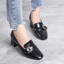 卡帝乐鳄鱼 CARTELO 商务通勤休闲皮鞋粗跟高跟方头韩版浅口软 KDLYS3601 黑色 36