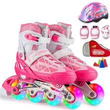 动感/ACTION溜冰鞋儿童可调 轮滑鞋成人直排轮旱冰鞋153B-21 粉红全闪鞋+护具+包+头盔 M/37-40码可调